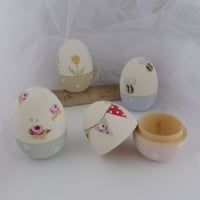 Decorated wooden eggs (with a flat bottom & opening top)