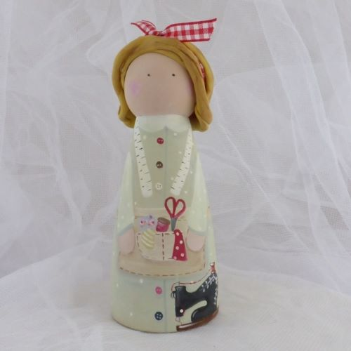 'The Seamstress' 12 cm tall 'peg' person