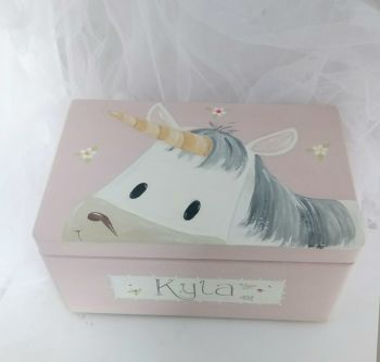 medium 'peeping Unicorn' Keepsake box