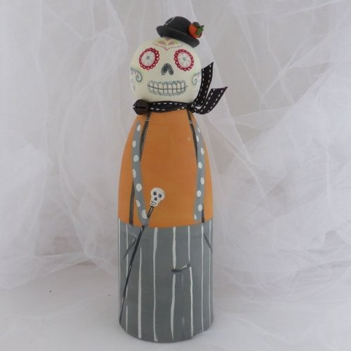 large halloween peg person - sugar skull