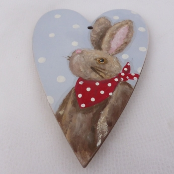 bunny heart brown with red bandana
