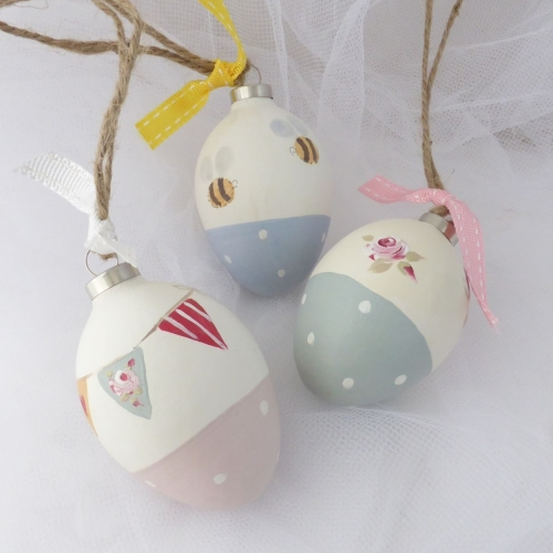 Ceramic eggs for twiggy trees