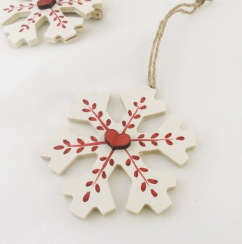 wooden snowflake decoration