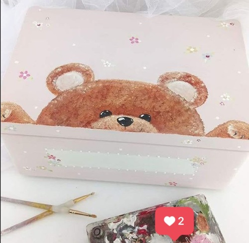 large 'peeping teddy' Keepsake box