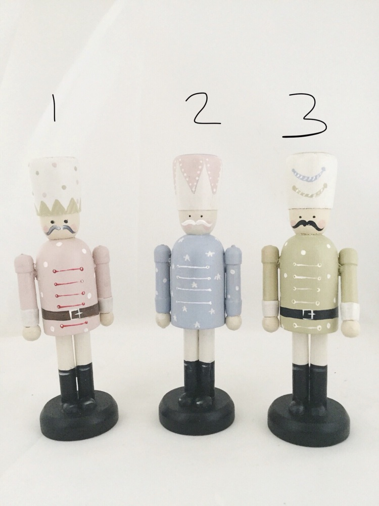 12 cm nutcracker style peg person, pastels