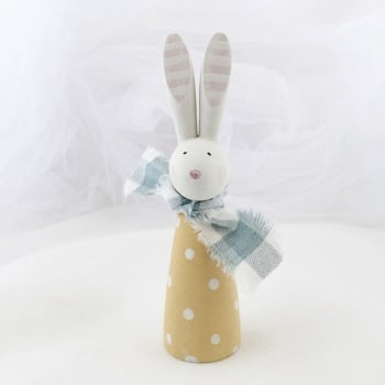 small wooden bunny - spots