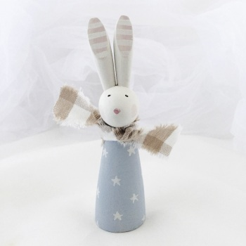 small wooden bunny - stars