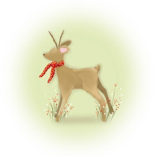 winter fawn print