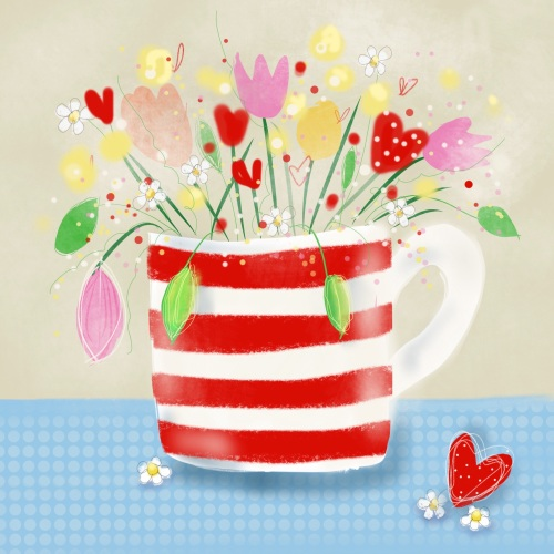 flowers in a red and white mug print