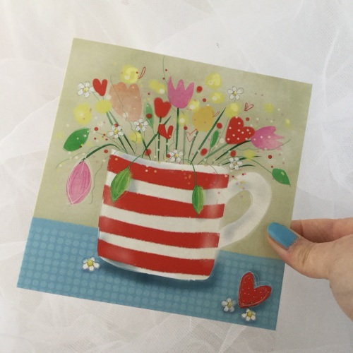 greeting card - flowers in a red and white mug