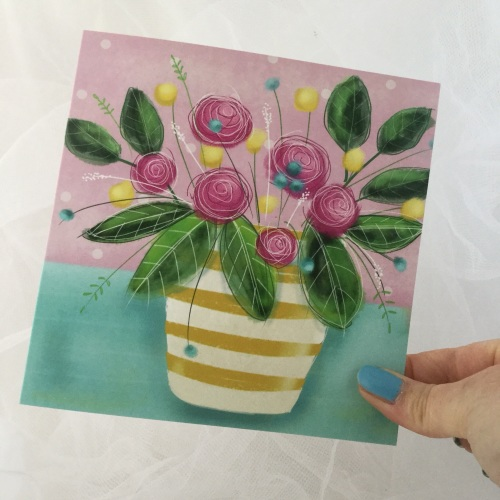 greeting card - flowers in a yellow and white vase