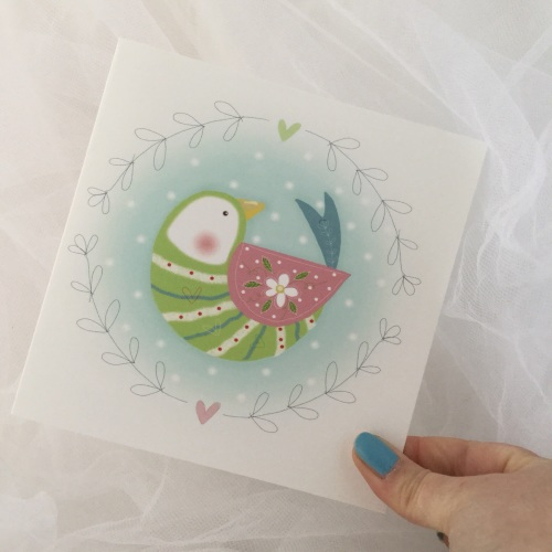 greeting card - folk bird