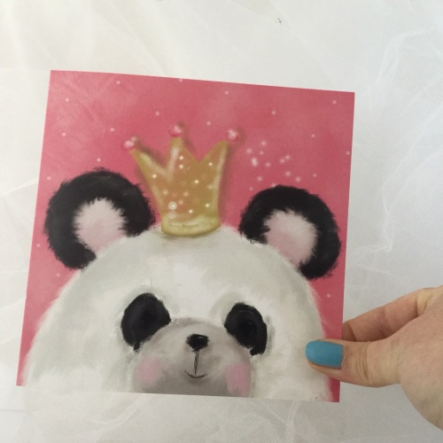 greeting card - party panda, crown