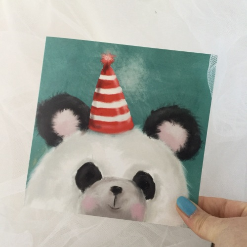 greeting card - party panda, hat