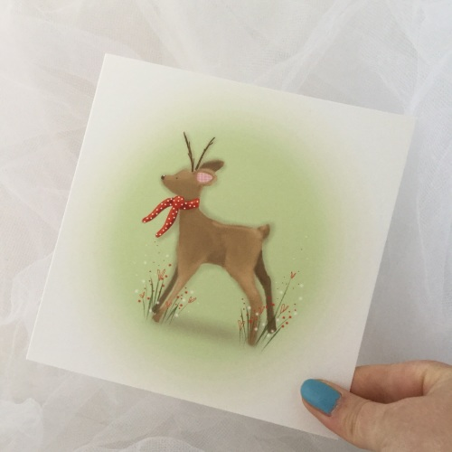 greeting card - winter fawn
