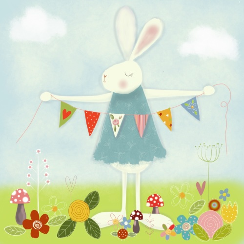 extra thick print - bunny with bunting