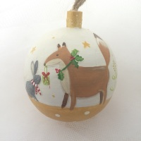 bauble fox and bunny on gold