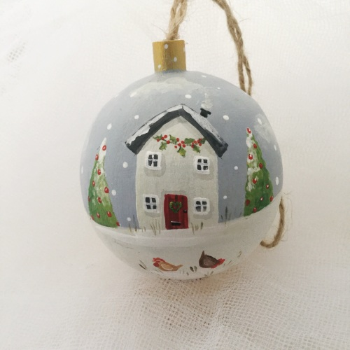 bauble house and hens