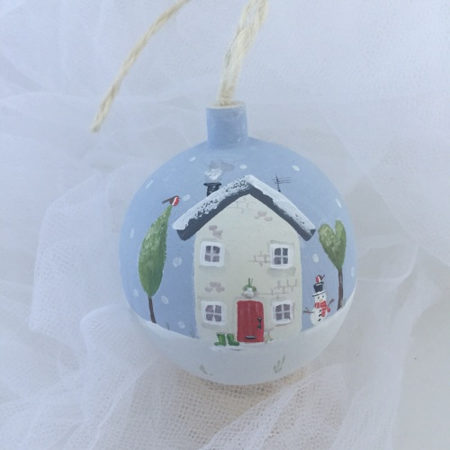 bauble house and snowman