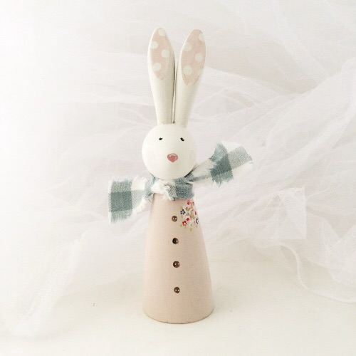Bunny - larger wooden bunny - floral corsage