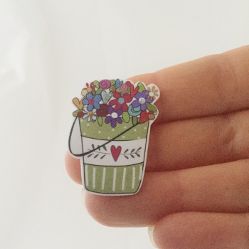 bucket of blooms - green with heart