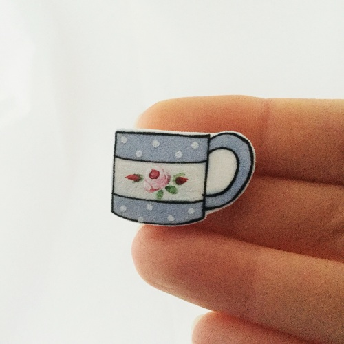 mug - blue with rose