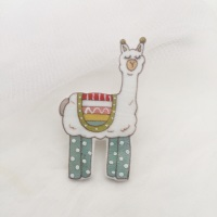 llama pin - duck egg leggings