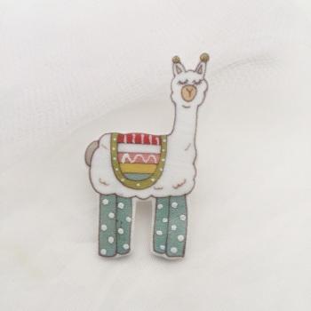 llama pin - duck egg leggings