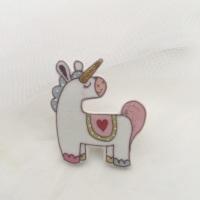unicorn pin - pink & green