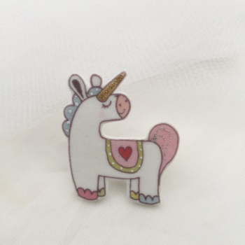 unicorn pin - pink & green