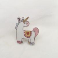 unicorn pin - pink & yellow