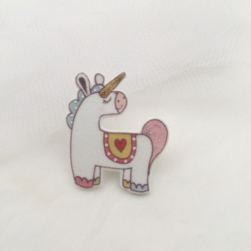 unicorn pin - pink & yellow