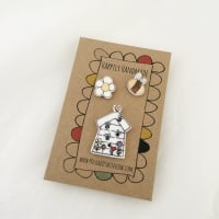 trio of pins - beehive, bee & daisy
