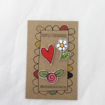 trio of pins - heart, rose & daisy