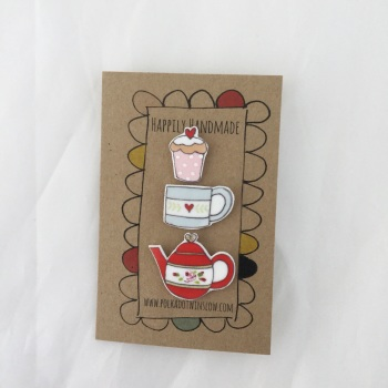 trio of pins - red teapot, mug and cupcake