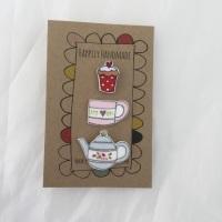 trio of pins - blue teapot, mug and cupcake