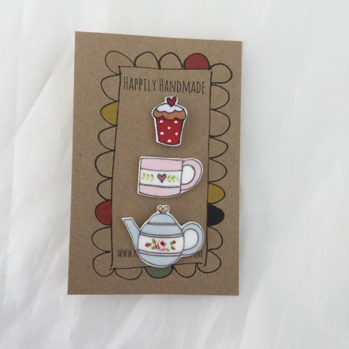 trio of pins - blue teapot, mug and cupcake