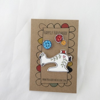 trio of pins - sewing machine & buttons
