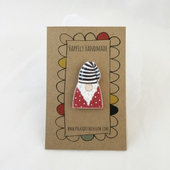 gonk/tomte pin - red jumper, striped hat