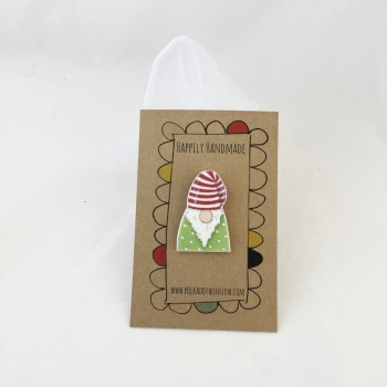 gonk/tomte pin - green jumper, striped hat