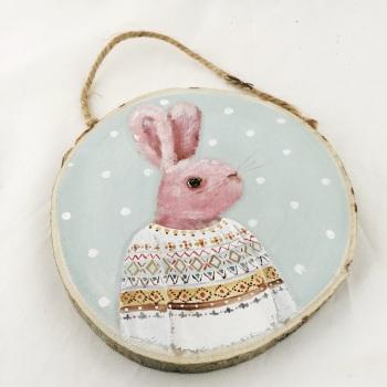 bunny painting - pink bunny, fair Isle jumper