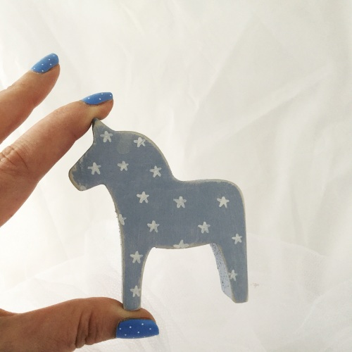 mini horse stars on blue background