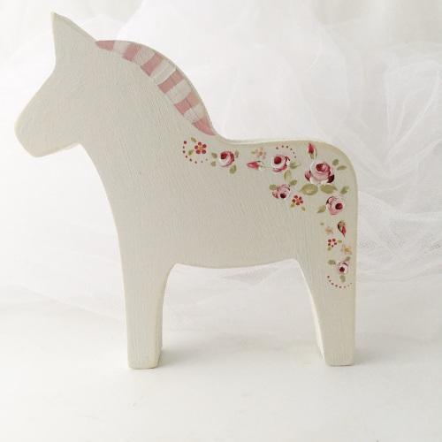 medium horse - rosie, white with pink mane