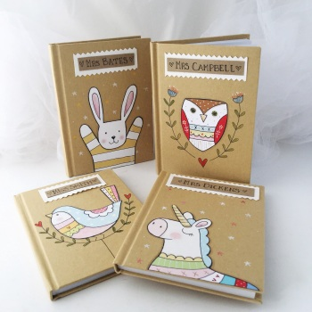 A6 kraft notebook - beehive, bunny, unicorn, owl, bird