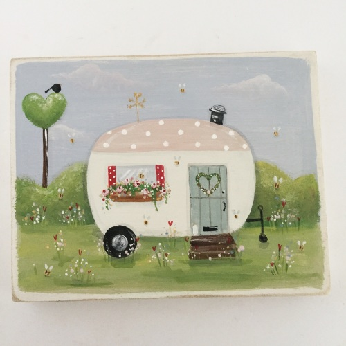 wooden plaque - caravan