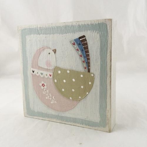 folk bird painting - duck egg edge