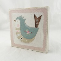 folk bird painting - pink edge