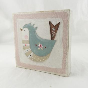 folk bird painting - pink edge
