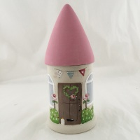 mini round house - pink roof, brown door