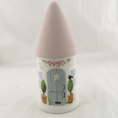 mini round house - pink roof, duck egg door